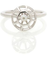 Lestie Lee White Gold Diamond Cage Ring With Pearl - Metallic