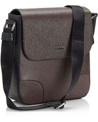 Hugo Boss Walnut  Printed Leather Reporter Bag - Lyst