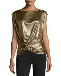 Halston Heritage Twisted Draped Lamé Top gold - Lyst