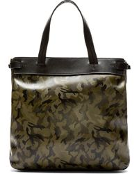 Yohji Yamamoto Camo and Black Leather Tote Bag - Lyst