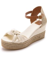 Tory Burch Knotted Bow Wedge Espadrilles - Ivory/Royal Tan - Lyst