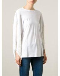 Laneus Fringed T-shirt - White
