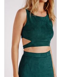 Missguided - Suede Wrap Around Crop Top Teal - Lyst