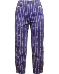 Olympia Le-Tan - Rope Printed Tailored Cotton Trousers - Lyst