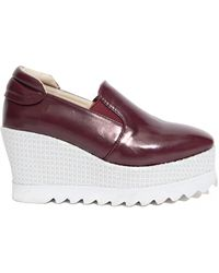 Pixie Market Burgundy Platform Loafers - Lyst