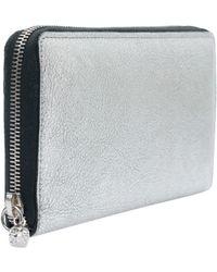 Alexander McQueen Long Metallic Silver Wallet - Lyst