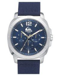 Quiksilver 'the Drifter' Multifunction Woven Strap Watch - Blue