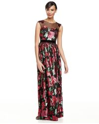 Badgley Mischka Sequined Floral Gown W Mesh Yoke - Lyst