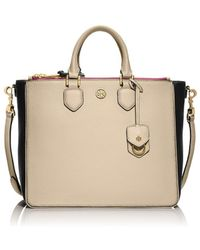 Tory Burch Robinson Pebbled Color-block Square Tote - Lyst
