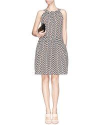 Lanvin Chevron Stripe Silk Chiffon Dress multicolor - Lyst