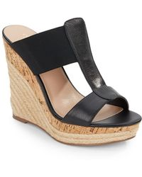 Charles by Charles David Alto Leather & Elastic Espadrille Wedge Sandals black - Lyst