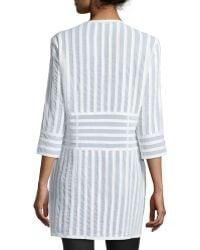 Grayse - Leather-Stripe 3/4-Sleeve Coat - Lyst