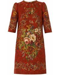 Dolce & Gabbana Floral and Key-print Brocade Dress - Lyst