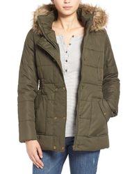 Krush Hooded Faux-Fur Coat - Green