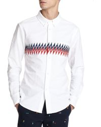 Band of Outsiders Printed Cotton Sportshirt multicolor - Lyst