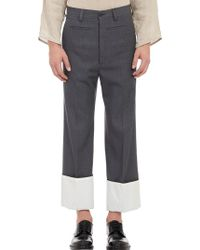 Loewe Cuffed Worsted Wool Trousers - Lyst