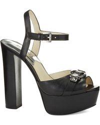 MICHAEL Michael Kors Racquel Peep Toe Platform Leather Sandal - Lyst
