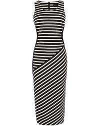 Karen Millen Striped Jacquard Jersey Midi Dress - Lyst