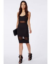 Missguided Shilin Black Mesh Panel Strappy Midi Dress