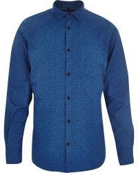 River Island Blue Ditsy Print Long Sleeve Shirt - Lyst