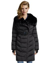 Diane von Furstenberg | Black Quilted Faux Fur Collar Belted Down Coat | Lyst