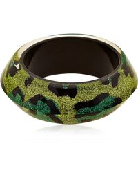 Nicholas King Green Leopard Ufo Bangle Bracelet