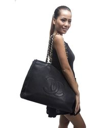 Chanel Preowned Black Lambskin Cc Xl Shopper Tote Bag - Lyst