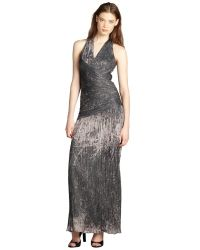 Halston Heritage Moss And Grey Tie Dye Stretch Knit Pleated Halter Dress - Lyst