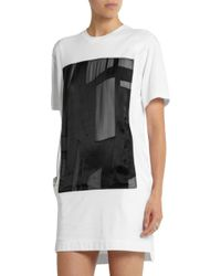 Helmut Lang Satin-Appliquã©D Cotton-Jersey Mini Dress - Lyst