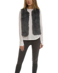 H Brand Celine Rabbit Fur Vest - Gray