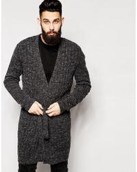 Asos Super Longline Cable Cardigan With Belt - Lyst