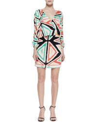 Parker Catalina Geometric Print Draped Dress - Lyst