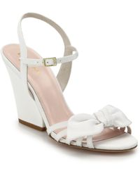 Kate Spade Indie Bow-Topped Grosgrain Wedge Sandals white - Lyst