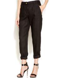 Calvin Klein Roll-Tab Convertible Linen Pants black - Lyst