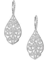 Adriana Orsini Garden Gate PavÉ Crystal Filigree Large Drop Earrings/Silvertone - Lyst