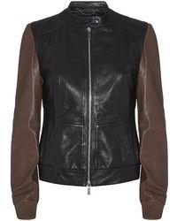 Karen Millen Colour Block Leather Bomber Jacket - Black