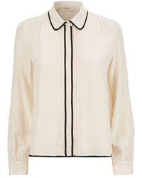 Weekend by Maxmara Contrast Piping Silk Blouse beige - Lyst