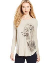 Karen Kane Lionprint Roundhem Top - Lyst