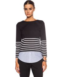 Band of Outsiders Breton Stripe Cotton Top With Contrast Shirttail - Lyst