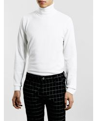 Topman Off White Roll Neck Sweater - Lyst