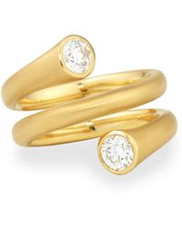 Carelle - 18k Gold Wrap Ring With Diamonds - Lyst