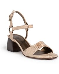 Lanvin Lizard-Embossed Leather Chunky Sandals - Lyst