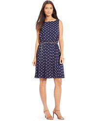 Ralph Lauren Polka-Dot Sleeveless Dress - Lyst