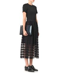 Freda Embroidered Hound'S-Tooth Midi Skirt - Black