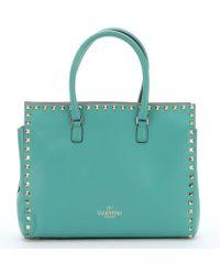 Valentino Aqua Leather 'Rockstud' Small Tote Bag - Lyst
