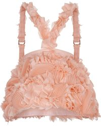 Ruban - Decorated Organza Basque With Suspenders - Lyst