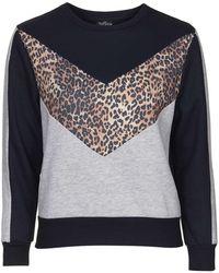 Topshop | Petite Animal Colourblock Sweatshirt | Lyst