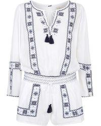 Denim & Supply Ralph Lauren - Embroidered Peasant Playsuit - Lyst