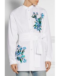 Jonathan Saunders - Alex Embroidered Cotton-poplin Shirt - Lyst