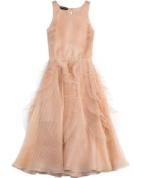 Rochas Pleated Silk Dress With Tulle - Lyst
